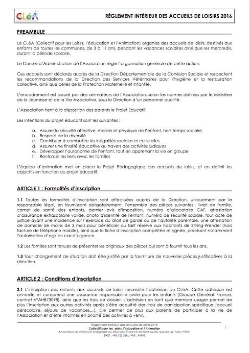 R glement int rieur des accueils de loisirs 2016 cl a for Reglement interieur association pdf