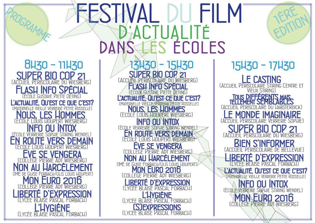 Le programme de la première édition du Festival du Film d'Actualité dans les Ecoles