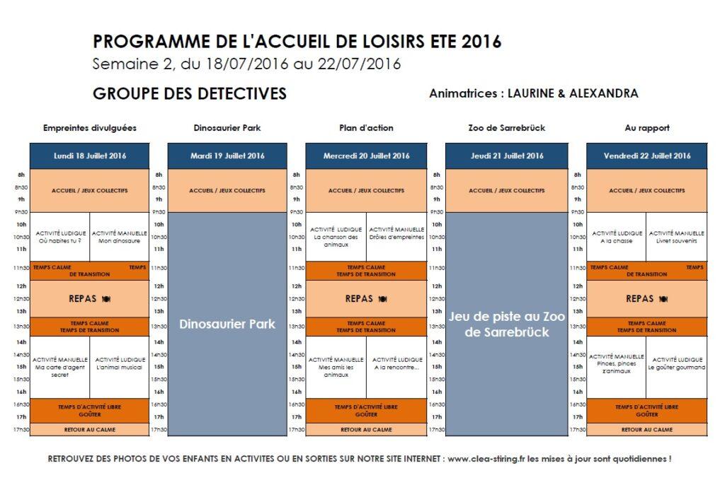 Planning activites AL Juillet 2016 Semaine 2