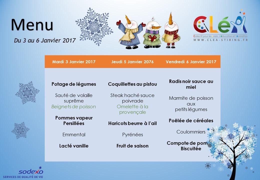 Menus p riscolaire janvier 2017 cl a collectif pour les loisirs l 39 ducation et l 39 animation - Date des soldes de janvier 2017 ...